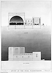 Pittsburgh PA:  View of a rendering created by J.A. Mitchell of the new Buhl Planetarium.  This view is of the building's side elevation and cross-section of the interior.  The project was completed in 1939.  The Buhl Planetarium was built with monies from the Buhl Foundation; a foundation created by the wealthy North Side clothier Henry Buhl of Boggs and Buhl department store fame.  Brady Stewart was selected for the job due to his specialized equipment; an 8x10 Dierdorff camera, and his expertise in lighting and photographing large renderings and drawings.