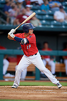 Jacksonville Jumbo Shrimp third baseman Brian Schales (13) at bat during a game against the Biloxi Shuckers on June 8, 2018 at Baseball Grounds of Jacksonville in Jacksonville, Florida.  Biloxi defeated Jacksonville 5-3.  (Mike Janes/Four Seam Images)