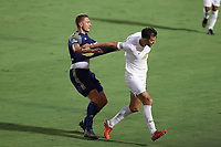 CARY, NC - AUGUST 01: Alex Crognale #21 pulls the jersey of Robert Kristo #11 during a game between Birmingham Legion FC and North Carolina FC at Sahlen's Stadium at WakeMed Soccer Park on August 01, 2020 in Cary, North Carolina.