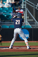 DannyDoligale (21) of the Illinois Fighting Illini at bat against the Coastal Carolina Chanticleers at Springs Brooks Stadium on February 22, 2020 in Conway, South Carolina. The Fighting Illini defeated the Chanticleers 5-2. (Brian Westerholt/Four Seam Images)