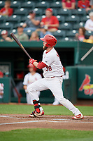 Springfield Cardinals first baseman Casey Grayson (38) follows through on a swing during a game against the Corpus Christi Hooks on May 31, 2017 at Hammons Field in Springfield, Missouri.  Springfield defeated Corpus Christi 5-4.  (Mike Janes/Four Seam Images)