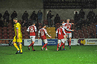 Fleetwood Town's forward Paddy Madden (17) celebtates with Fleetwood Town's forward Ched Evans (9) and team mates ]during the Sky Bet League 1 match between Fleetwood Town and Burton Albion at Highbury Stadium, Fleetwood, England on 15 December 2018. Photo by Stephen Buckley / PRiME Media Images.