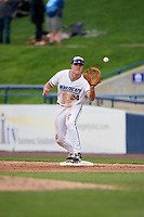 West Michigan Whitecaps first baseman Blaise Salter (24) waits to receive a throw during a game against the Clinton LumberKings on May 3, 2017 at Fifth Third Ballpark in Comstock Park, Michigan.  West Michigan defeated Clinton 3-2.  (Mike Janes/Four Seam Images)