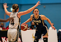 Renee Busch of Sevenoaks Suns comes forward during the WBBL Championship match between Sevenoaks Suns and Newcastle Eagles at Surrey Sports Park, Guildford, England on 20 March 2021. Photo by Liam McAvoy