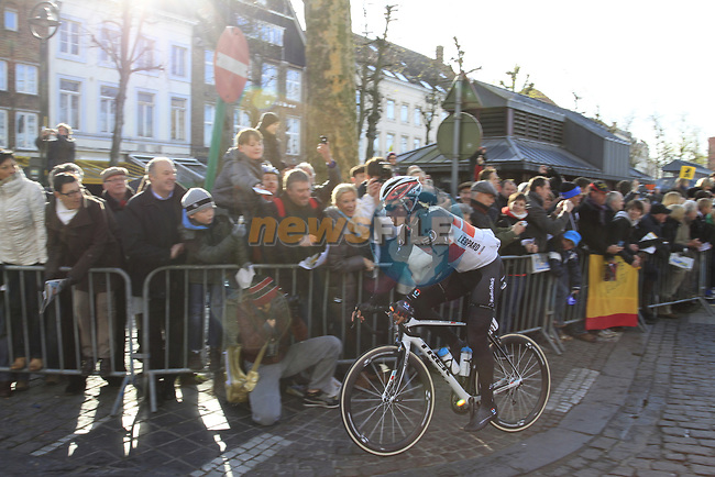 Radioshack-Nissan team leader Fabian Cancellara (SUI) makes his way to sign on before the start of the 96th edition of The Tour of Flanders 2012 in Bruges Market Square, running 256.9km from Bruges to Oudenaarde, Belgium. 1st April 2012. <br /> (Photo by Steven Franzoni/NEWSFILE).