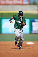 Daytona Tortugas catcher Chris Okey (25) running the bases during the first game of a doubleheader against the Clearwater Threshers on July 25, 2017 at Spectrum Field in Clearwater, Florida.  Daytona defeated Clearwater 4-1.  (Mike Janes/Four Seam Images)