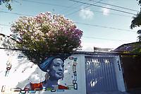 Recife (PE), 06/11/2019 - A Rua do Sossego, no bairro de Santo Amaro em Recife, ganhou vida com uma obra especial. O jornalista Ed Ruas e a empresaria Livia Franca, renovaram a pintura do muro de sua casa e homenagearam Marielle Franco, vereadora do Rio de Janeiro que foi assassinada em 2018. O casal ligado a arte ja haviam feito outras intervencoes urbanas no muro da residencia, que tambem ganharam notoriedade nas redes sociais, a arvore florida representa os cabelos da negra. (Foto: Pedro De Paula/Codigo 19/Codigo 19)