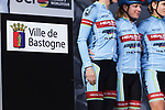 Health-Cyclelive Team at sign on before the 2018 Liege-Bastogne-Liege Femmes running 136km from Bastogne to Ans, Belgium. 22nd April 2018.<br /> Picture: ASO/Thomas Maheux | Cyclefile<br /> All photos usage must carry mandatory copyright credit (© Cyclefile | ASO/Thomas Maheux)