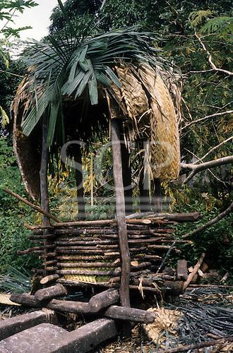 Catete Village, Xingu, Brazil. Xicrin Kayapo manioc (mandioca, cassava) press for extracting toxic juice.