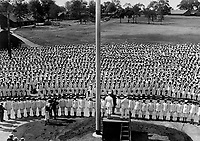 Pelham Bay sailors celebrate Independence Day.  Secretary of the Navy Daniels making a patriotic speech to the officers and men of the Pelham Bay Naval Training Station on July 4, 1918.  New York.  Underwood & Underwood.  (War Dept.)<br />NARA FILE #:  165-WW-343A-6<br />WAR & CONFLICT BOOK #:  507