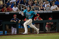 Anthony Marks #29 of the Coastal Carolina Chanticleers runs during a College World Series Finals game between the Coastal Carolina Chanticleers and Arizona Wildcats at TD Ameritrade Park on June 28, 2016 in Omaha, Nebraska. (Brace Hemmelgarn/Four Seam Images)