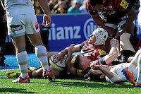 Chris Ashton of Saracens scores in the corner as Schalk Brits of Saracens supports during the Aviva Premiership match between Saracens and Worcester Warriors at Allianz Park on Saturday 3rd May 2014 (Photo by Rob Munro)