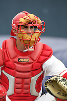 July 11 2009: Ryan Ortiz of the Vancouver Canadians before game against the Boise Hawks at Nat Bailey Stadium in Vancouver,BC..Photo by Larry Goren/Four Seam Images