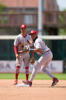 Palm Beach Cardinals second baseman Donivan Williams (25) looks to throw to first as shortstop Masyn Winn (3) backs up the play during a game against the Bradenton Marauders on May 30, 2021 at LECOM Park in Bradenton, Florida.  (Mike Janes/Four Seam Images)
