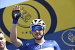 Race leader Elia Viviani (ITA) Quick-Step Floors at sign on before the start of Stage 5 The Meraas Stage final stage of the Dubai Tour 2018 the Dubai Tour's 5th edition, running 132km from Skydive Dubai to City Walk, Dubai, United Arab Emirates. 10th February 2018.<br /> Picture: LaPresse/Fabio Ferrari | Cyclefile<br /> <br /> <br /> All photos usage must carry mandatory copyright credit (© Cyclefile | LaPresse/Fabio Ferrari)