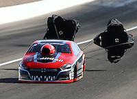 Apr 11, 2015; Las Vegas, NV, USA; NHRA pro stock driver V. Gaines during qualifying for the Summitracing.com Nationals at The Strip at Las Vegas Motor Speedway. Mandatory Credit: Mark J. Rebilas-