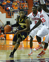 Nov 30, 2010; Clemson, SC, USA; Michigan Wolverines guard Darius Morris (4) dribbles the ball in the game against the Clemson Tigers at Littlejohn Coliseum. Mandatory Credit: Daniel Shirey/WM Photo -US PRESSWIRE