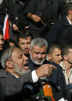 """Palestinian dissmiss prime minster Ismail Hania  attend a rally in Gaza City, 25 September 2007. Thousands of Hamas supporters flocked to central Gaza City for a rally to reject a key Middle East peace conference in the United States, as the Islamists slammed Arab participation.(""""photo by Fady Adwan"""""""