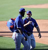 Sherten Apostel (left), Justin Foscue (right) - Texas Rangers 2021 spring training (Bill Mitchell)