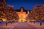 Christmas snow at Ochre Court, a mansion Newport, RI, USA