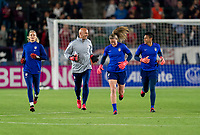 CARSON, CA - FEBRUARY 7: Ashlyn Harris #18, Philip Poole, Alyssa Naeher #1 and Adrianna Franch #12 of the United States walk out to the field during a game between Mexico and USWNT at Dignity Health Sports Park on February 7, 2020 in Carson, California.