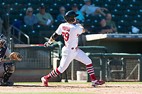 Surprise Saguaros second baseman Andy Young (29), of the St. Louis Cardinals organization, follows through on his swing during an Arizona Fall League game against the Peoria Javelinas at Surprise Stadium on October 17, 2018 in Surprise, Arizona. (Zachary Lucy/Four Seam Images)