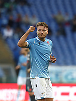 Football, Serie A: S.S. Lazio - Udinese Olympic stadium, Rome, December 1, 2019. <br /> Lazio's Ciro Immobile celebrates after scorig his second goal in the match during the Italian Serie A football match between S.S. Lazio and Udinese at Rome's Olympic stadium, Rome on December 1, 2019.<br /> UPDATE IMAGES PRESS/Isabella Bonotto