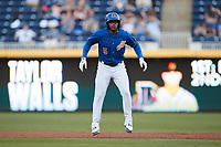 Wander Franco (5) of the Durham Bulls takes his lead off of first base against the Jacksonville Jumbo Shrimp at Durham Bulls Athletic Park on May 15, 2021 in Durham, North Carolina. (Brian Westerholt/Four Seam Images)