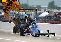 Apr. 28, 2012; Baytown, TX, USA: NHRA top fuel dragster driver Cory McClenathan during qualifying for the Spring Nationals at Royal Purple Raceway. Mandatory Credit: Mark J. Rebilas-