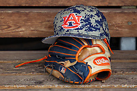 Auburn Tigers hat before Game 7 of the NCAA College World Series against the Louisville Cardinals on June 18, 2019 at TD Ameritrade Park in Omaha, Nebraska. Louisville defeated Auburn 5-3. (Andrew Woolley/Four Seam Images)