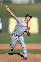 Salt River Rafters pitcher John Stilson (28), of the Toronto Blue Jays organization, during an Arizona Fall League game against the Surprise Saguaros on October 14, 2013 at Surprise Stadium in Surprise, Arizona.  Salt River defeated Surprise 3-2.  (Mike Janes/Four Seam Images)