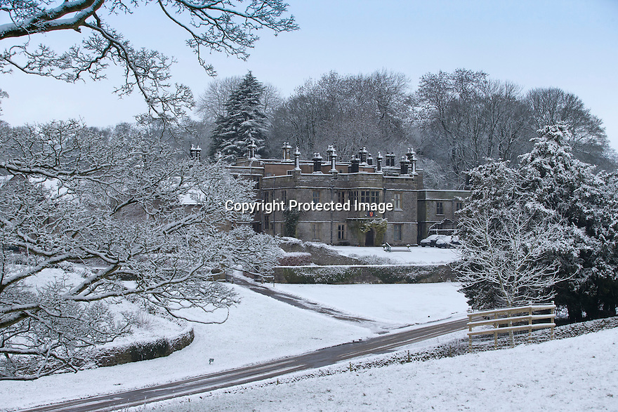 17/01/16<br /> <br /> Snow covers Tissington Hall in the Derbyshire Peak District near Ashbourne after overnight snowfall.<br /> <br /> All Rights Reserved: F Stop Press Ltd. +44(0)1335 418365   +44 (0)7765 242650 www.fstoppress.com
