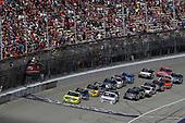 NASCAR Camping World Truck Series<br /> LTI Printing 200<br /> Michigan International Speedway, Brooklyn, MI USA<br /> Saturday 12 August 2017<br /> Matt Crafton, Ideal Door / Menards Toyota Tundra leads at the start<br /> World Copyright: Michael L. Levitt<br /> LAT Images