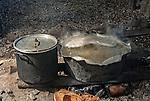 Cooking in a remote village house on the island of Kiritimati, Kiribati.