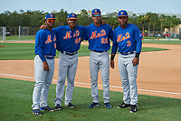 GCL Mets Domingo Martinez (88), Gregory Guerrero (85), Mark Vientos (20), and Edinson Valdez (3) before a game against the GCL Cardinals on July 23, 2017 at Roger Dean Stadium Complex in Jupiter, Florida.  GCL Cardinals defeated the GCL Mets 5-3.  (Mike Janes/Four Seam Images)