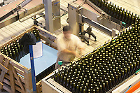 Bottling line. Man piling bottles. Vallformosa, Vilobi, Penedes, Catalonia, Spain