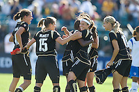 FC Gold celebrates. FC Gold Pride defeated the Boston Breakers, 2-1, in their home opener on April 5, 2009 at Buck Shaw Stadium in Santa Clara, CA.