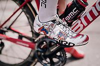 Jempy Drucker (LUX/BMC) showing some 'Pow!' at the race start<br /> <br /> stage 13 Ferrara - Nervesa della Battaglia (180km)<br /> 101th Giro d'Italia 2018