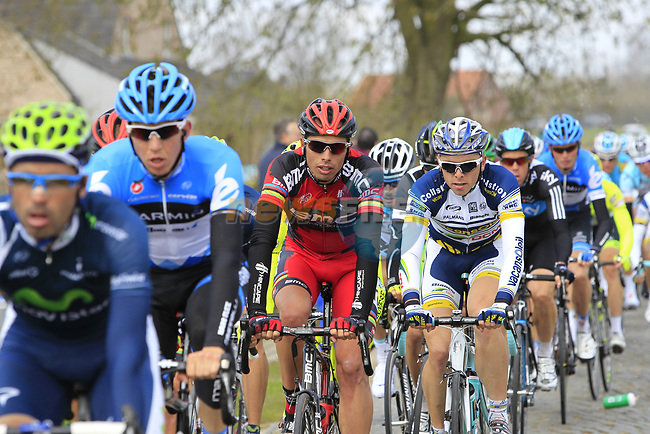 The peloton including Alessandro Ballan (ITA) BMC Racing Team on the 2nd cobbled section at Doorn during the 96th edition of The Tour of Flanders 2012, running 256.9km from Bruges to Oudenaarde, Belgium. 1st April 2012. <br /> (Photo by Eoin Clarke/NEWSFILE).