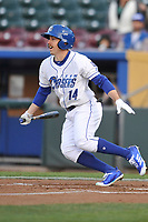 Omaha Storm Chasers Center fielder Billy Burns (14) swings at a pitch against the Colorado Springs Sky Sox at Werner Park on April 5, 2018 in Omaha, Nebraska. The Sky Sox won 3-1.  (Dennis Hubbard/Four Seam Images)