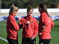 20200310  Lagos , Portugal : Belgian players with Belgian Sarah Wijnants (8) ,  Belgian Laura Deloose (22) and Belgian Laura De Neve (18) pictured prior to the female football game between the national teams of Belgium called the Red Flames and Denmark on the third and last matchday for the 5th or 6th place of the Algarve Cup 2020 , a prestigious friendly womensoccer tournament in Portugal , on tuesday 10 th March 2020 in Lagos , Portugal . PHOTO SPORTPIX.BE | DAVID CATRY