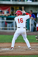 Connor Justus (16) of the Orem Owlz at bat against the Grand Junction Rockies in Pioneer League action at Home of the Owlz on July 7, 2016 in Orem, Utah. The Owlz defeated the Rockies 15-3. (Stephen Smith/Four Seam Images)