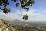 Israel, Lower Galilee, the Gospel Trail on Mount Precipice overlookink Jezreel Valley and Mount Tabor
