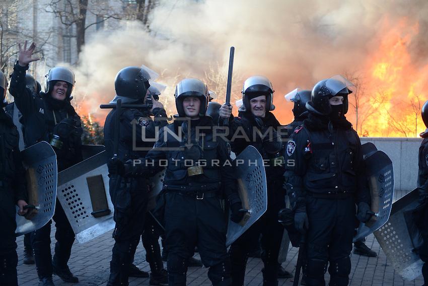 Policemen seen during the fights.  Kiev, Ukraine
