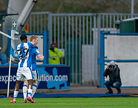 20th February 2021; The John Smiths Stadium, Huddersfield, Yorkshire, England; English Football League Championship Football, Huddersfield Town versus Swansea City; Lewis O'Brien of Huddersfield Town celebrates his goal in the 48th minute in front of a photographer