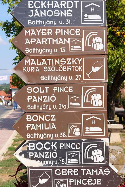 Wine cellars sign. Villany  ( Villany  ) Hungary.