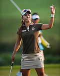 TAOYUAN, TAIWAN - OCTOBER 26:  Hee Young Park of South Korea acknowledges to the crowd on the 18th hole during the day two of the Sunrise LPGA Taiwan Championship at the Sunrise Golf Course on October 26, 2012 in Taoyuan, Taiwan. Photo by Victor Fraile / The Power of Sport Images