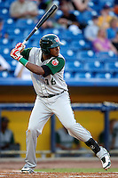 Fort Wayne TinCaps Duanel Jones #16 during a game against the Lake County Captains at Classic Park on July 2, 2012 in Eastlake, Ohio.  Fort Wayne defeated Lake County 5-4.  (Mike Janes/Four Seam Images)