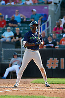Vermont Lake Monsters Lawrence Butler (1) at bat during a NY-Penn League game against the Aberdeen IronBirds on August 18, 2019 at Leidos Field at Ripken Stadium in Aberdeen, Maryland.  Vermont defeated Aberdeen 6-5.  (Mike Janes/Four Seam Images)