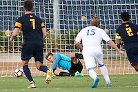 BERKELEY, CA - October 13, 2016: Jonathan Klinsmann saves a second half penalty kick. Cal played UCLA at Edwards Stadium.